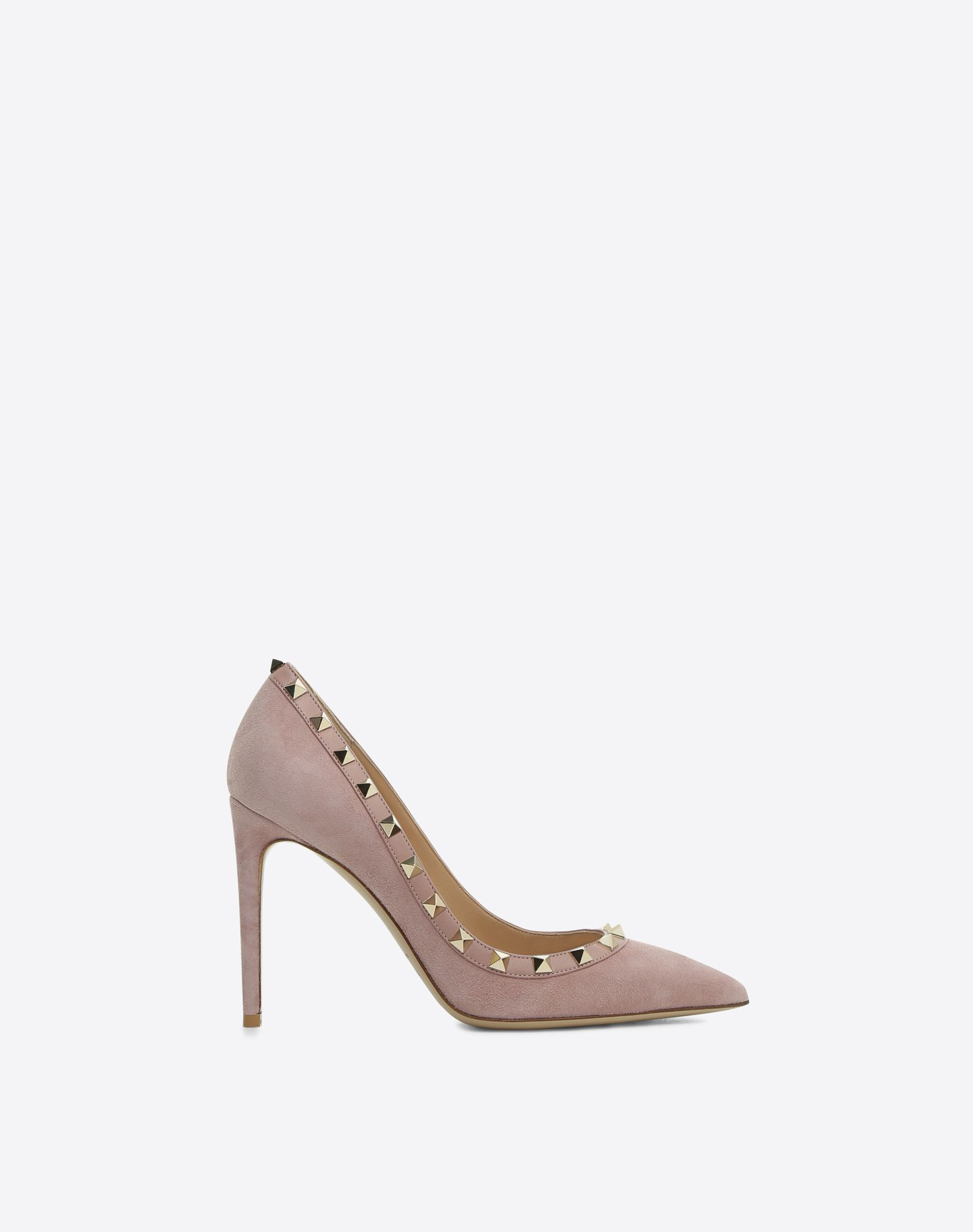 VALENTINO Covered heel Solid color Spike heel Suede effect Studs Narrow toeline Leather lining Leather sole  45378546kk