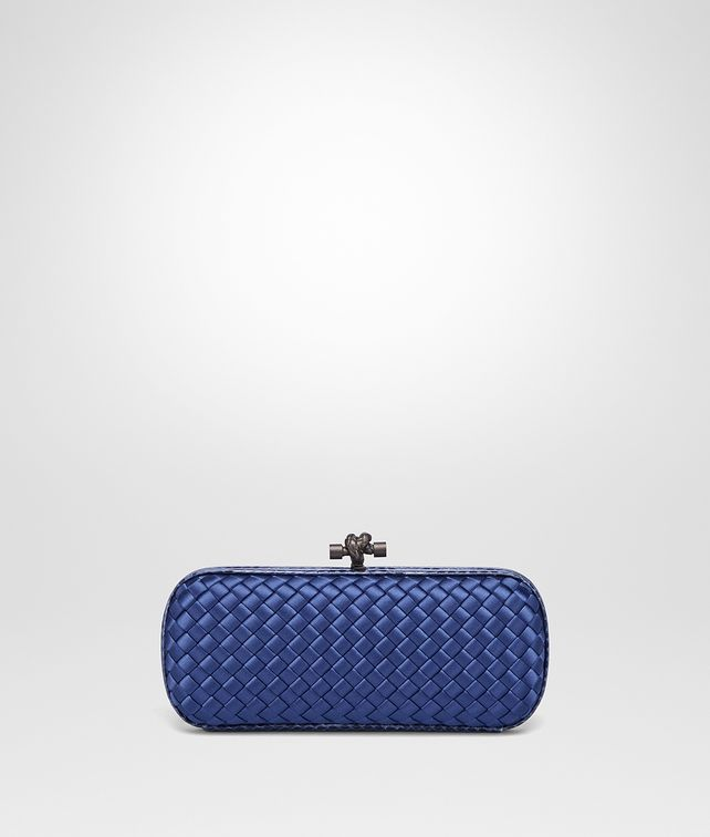 BOTTEGA VENETA COBALT BLUE INTRECCIATO IMPERO STRETCH KNOT Clutch Woman fp