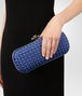 BOTTEGA VENETA COBALT BLUE INTRECCIATO IMPERO STRETCH KNOT Clutch Woman ap