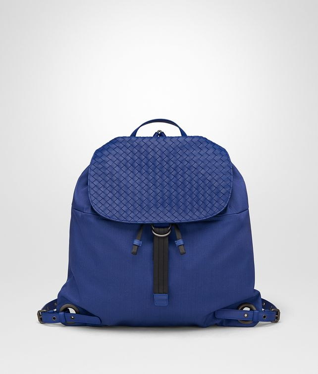 BOTTEGA VENETA COBALT BLUE CANVAS BACKPACK Messenger Bag Man fp