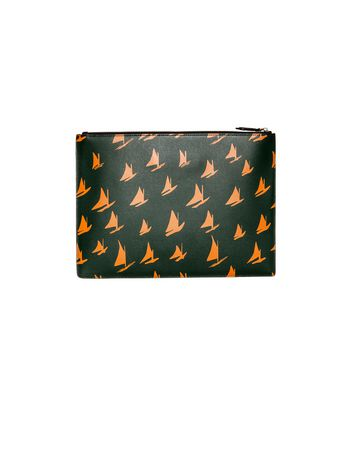 Marni Document case in orange leather Sail print Man