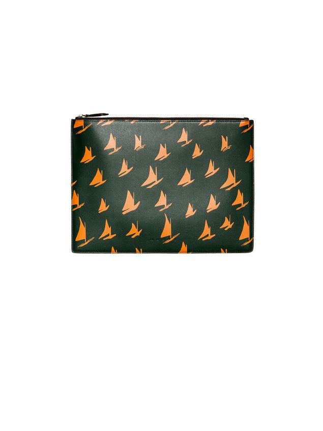 Marni Document case in orange leather Sail print Man - 2