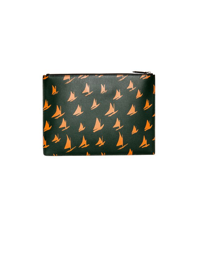Marni Document case in orange leather Sail print Man - 1