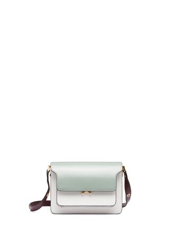 Marni TRUNK bag in shiny calfskin grey Woman