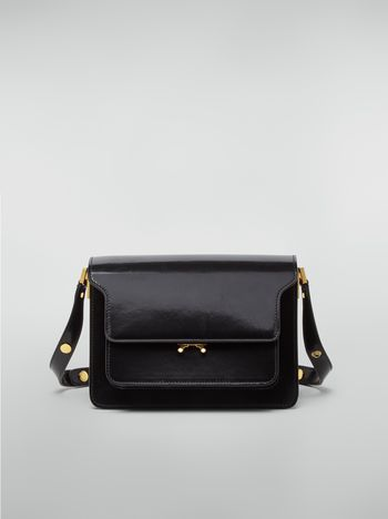 Marni TRUNK bag in black polished calfskin Woman f