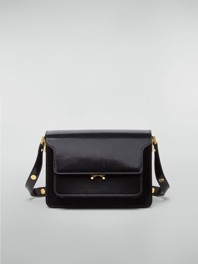 Marni TRUNK bag in black polished calfskin Woman - 1