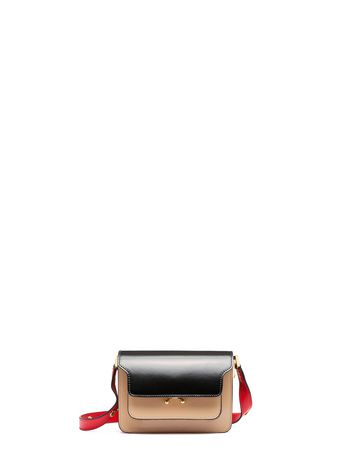Marni Black and sand calfskin MINI TRUNK bag Woman