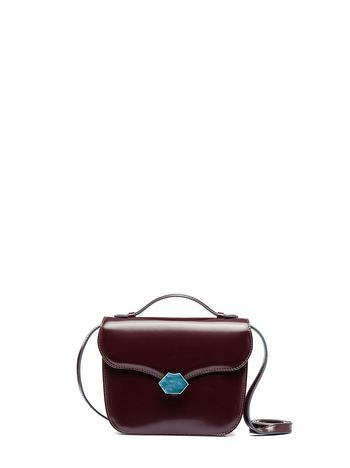 Marni MRS MIDI bag in calfskin burgundy Woman