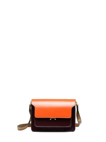Marni TRUNK bag in calfskin orange Woman