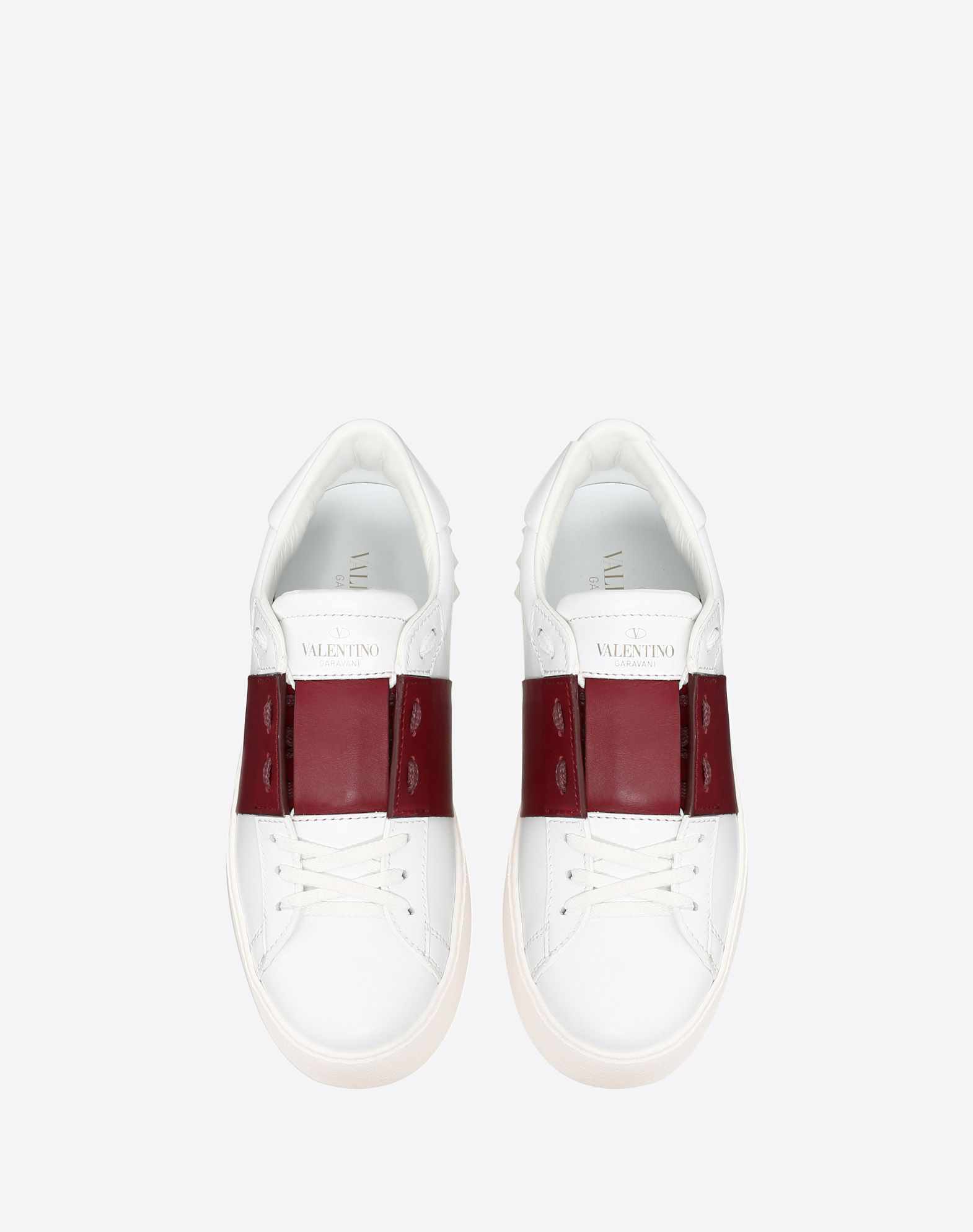 VALENTINO Two-tone Logo Round toeline Leather lining Laces Rubber cleated sole Studs  45379155pn
