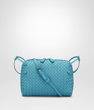AQUA INTRECCIATO NAPPA SMALL MESSENGER BAG