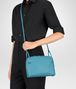 BOTTEGA VENETA AQUA INTRECCIATO NAPPA SMALL MESSENGER BAG Crossbody bag D ap