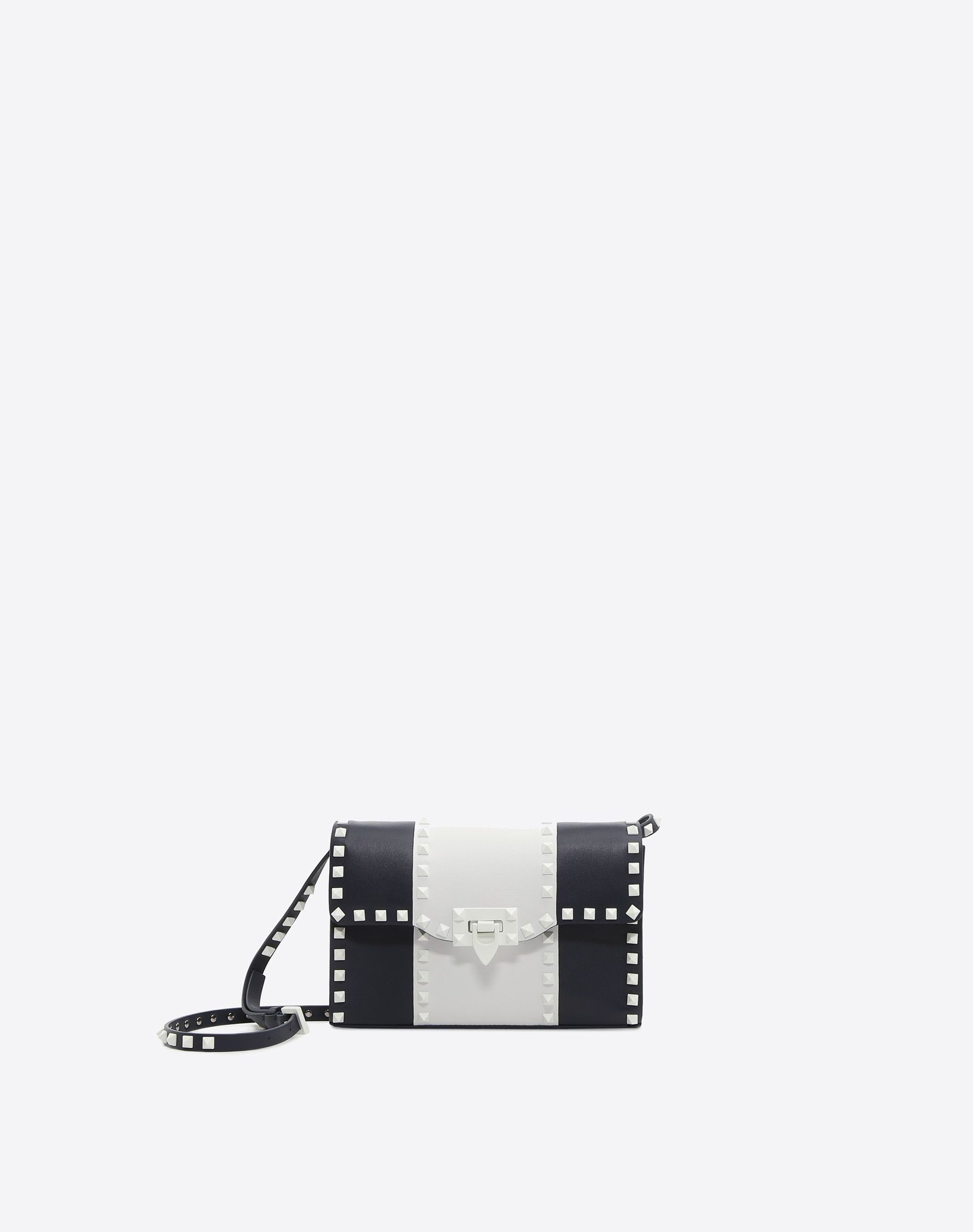 VALENTINO Studs Logo Two-tone Framed closure Internal pocket Removable shoulder strap  45379316wl