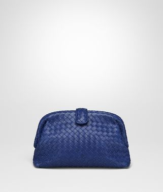 CLUTCH THE LAUREN 1980 IN INTRECCIATO NAPPA BLU COBALTO