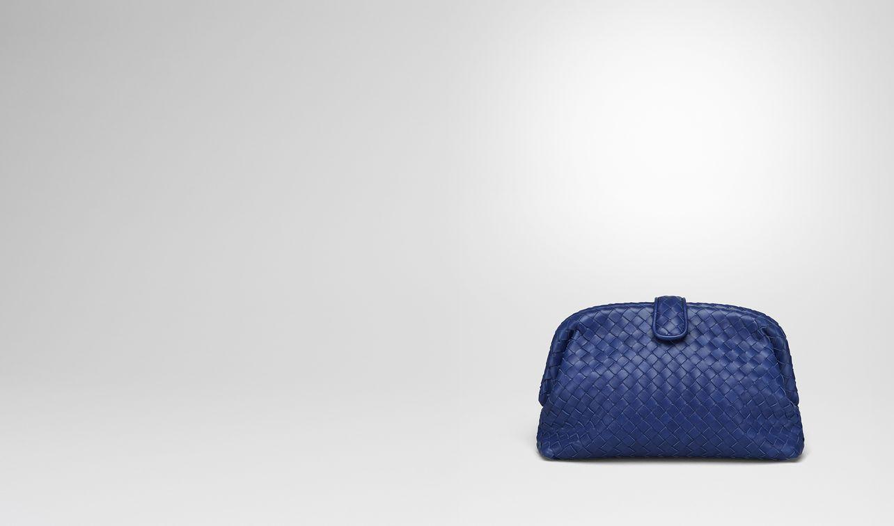 cobalt blue intrecciato nappa top the lauren 1980 clutch landing