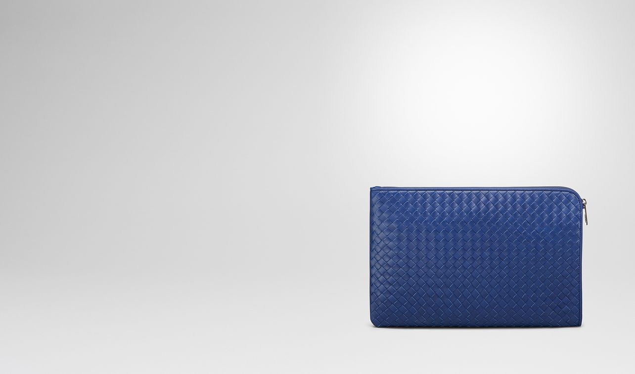cobalt blue intrecciato document case landing