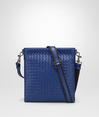 COBALT BLUE INTRECCIATO SMALL MESSENGER BAG