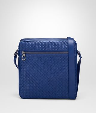 COBALT BLUE INTRECCIATO MESSENGER BAG