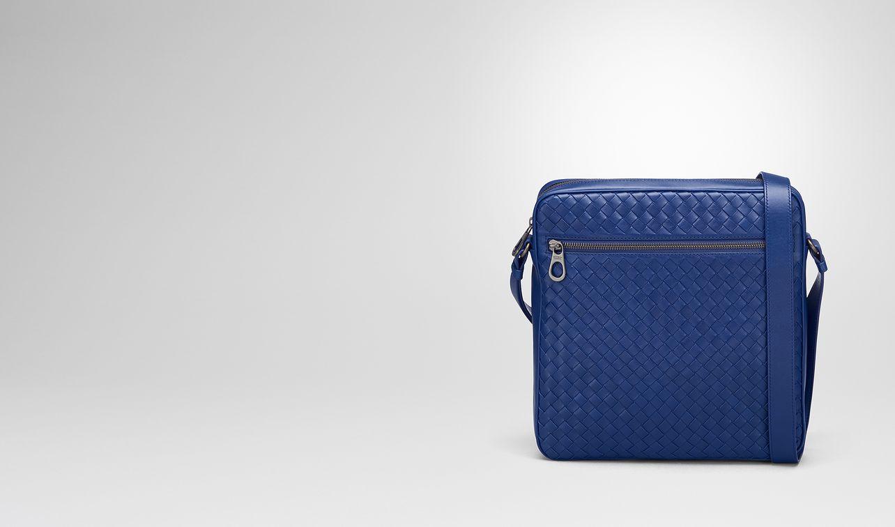 cobalt blue intrecciato messenger bag landing