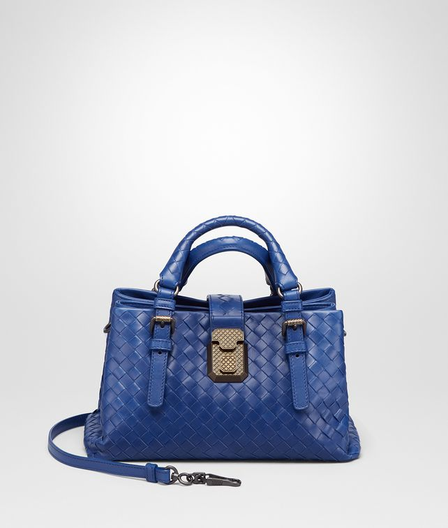 BOTTEGA VENETA COBALT BLUE INTRECCIATO CALF BABY ROMA BAG Top Handle Bag       4b8fa4cfc0036
