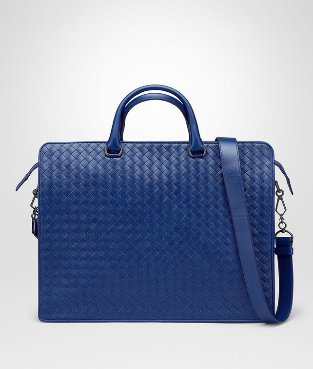 BOTTEGA VENETA COBALT BLUE INTRECCIATO BRIEFCASE Business bag [*** pickupInStoreShippingNotGuaranteed_info ***] fp