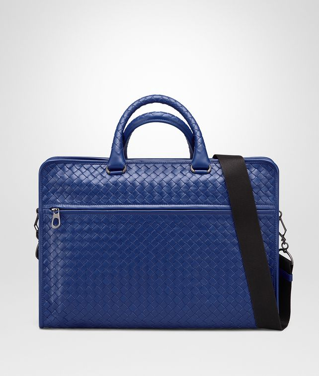 BOTTEGA VENETA COBALT BLUE INTRECCIATO CALF BRIEFCASE Business bag [*** pickupInStoreShippingNotGuaranteed_info ***] fp