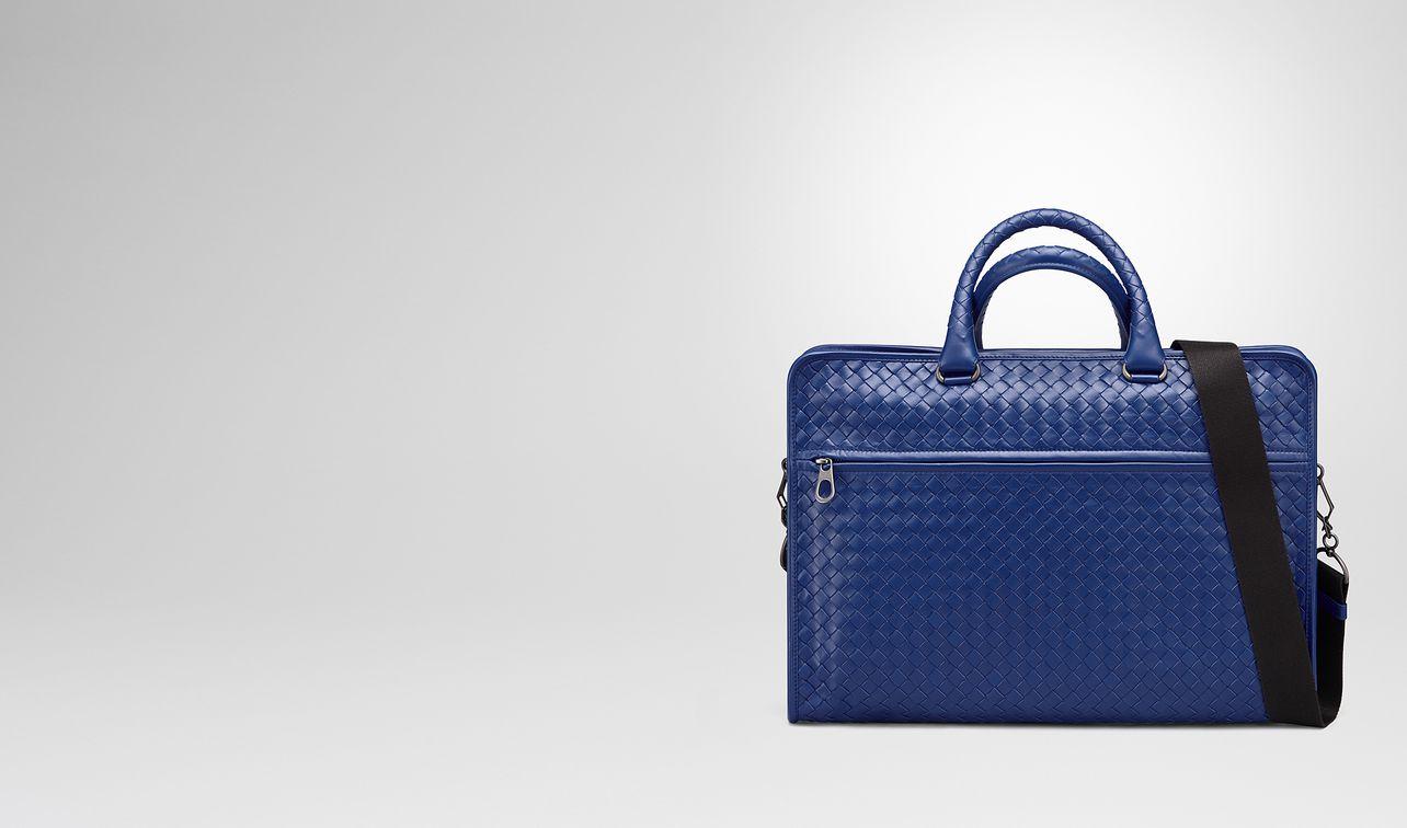 cobalt blue intrecciato calf briefcase landing