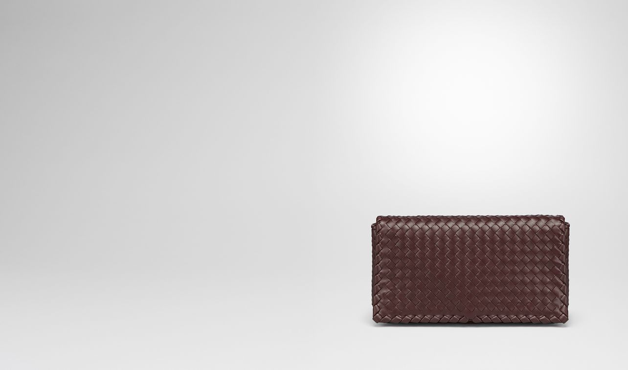 dark barolo intrecciato nappa medium clutch  landing