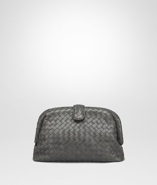 LIGHT GREY INTRECCIATO NAPPA TOP THE LAUREN 1980 CLUTCH