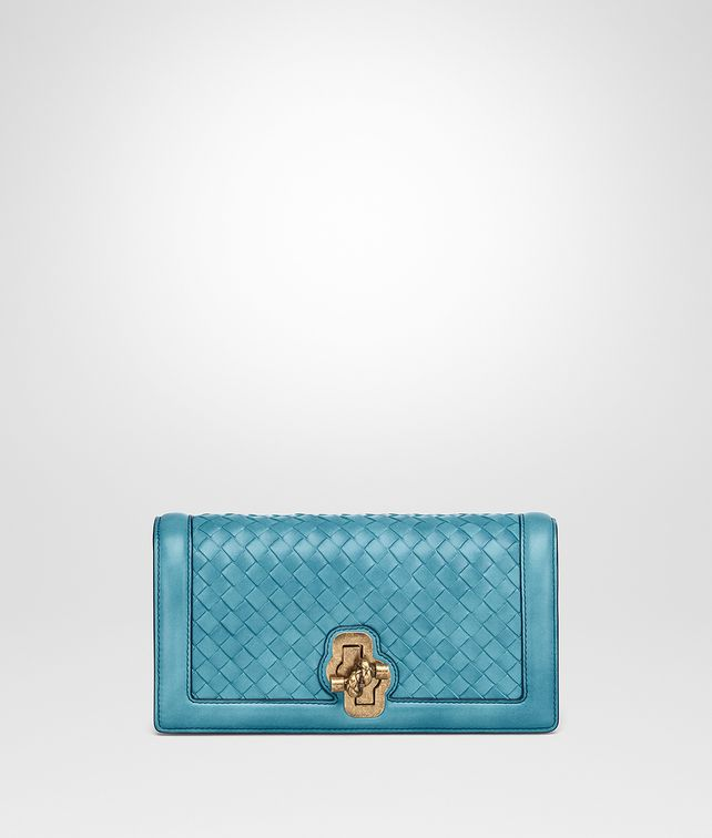 BOTTEGA VENETA AQUA INTRECCIATO NAPPA TOP KNOT CLUTCH Clutch Woman fp