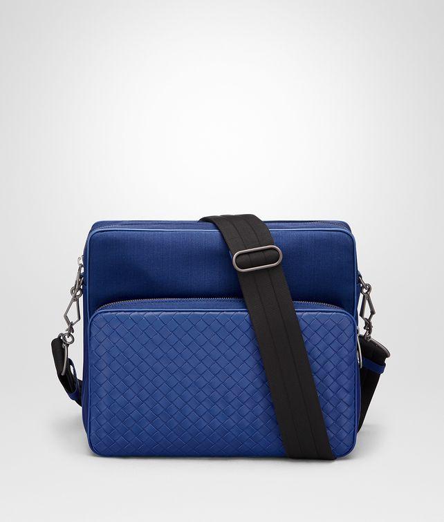 BOTTEGA VENETA COBALT BLUE CANVAS MESSENGER BAG Messenger Bag [*** pickupInStoreShippingNotGuaranteed_info ***] fp