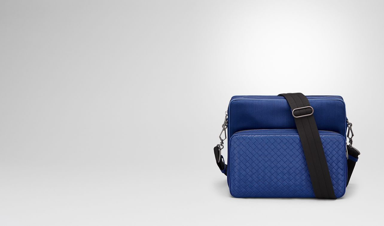 cobalt blue canvas messenger bag landing