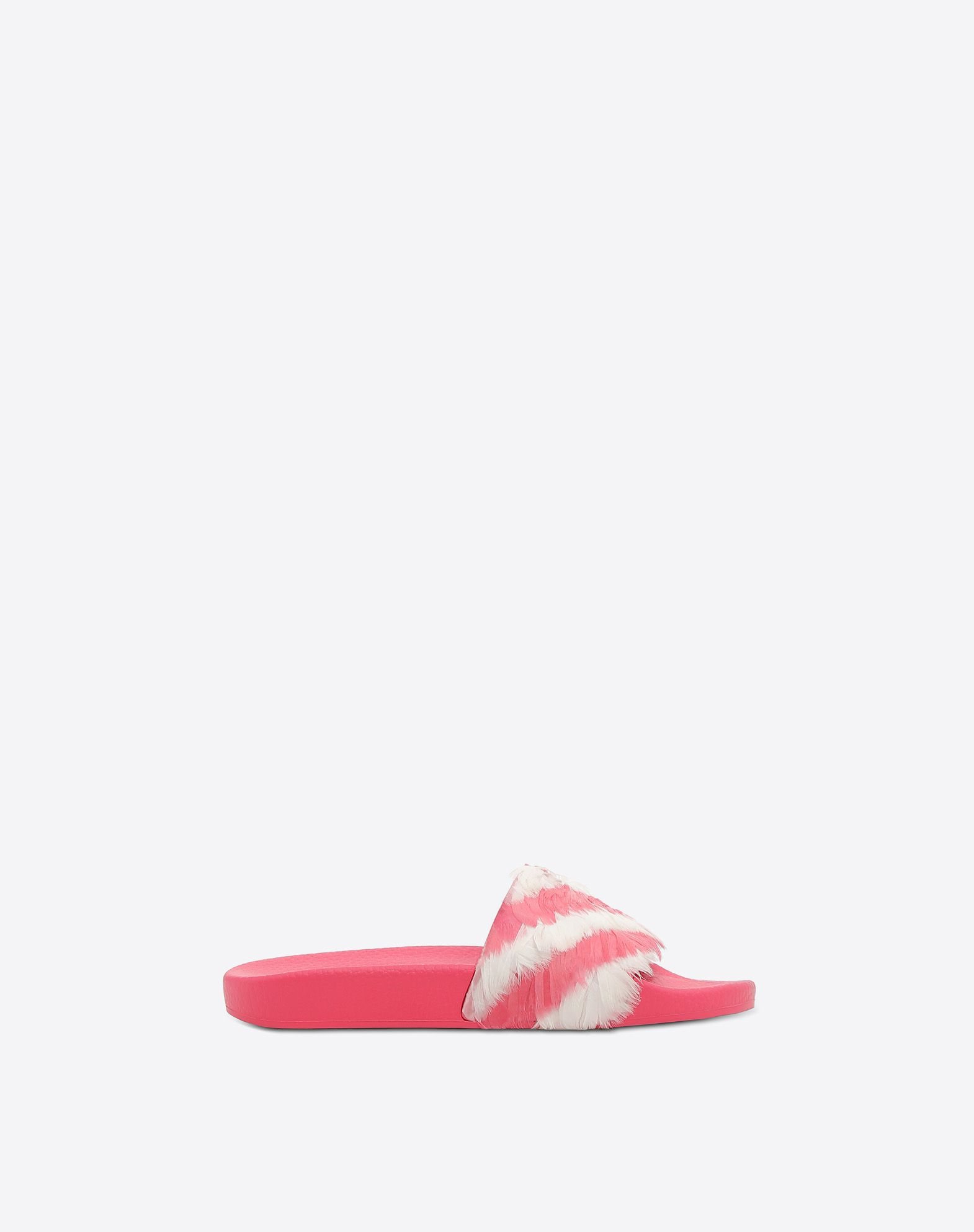 Striped Feather-Embellished Slides in Pink White