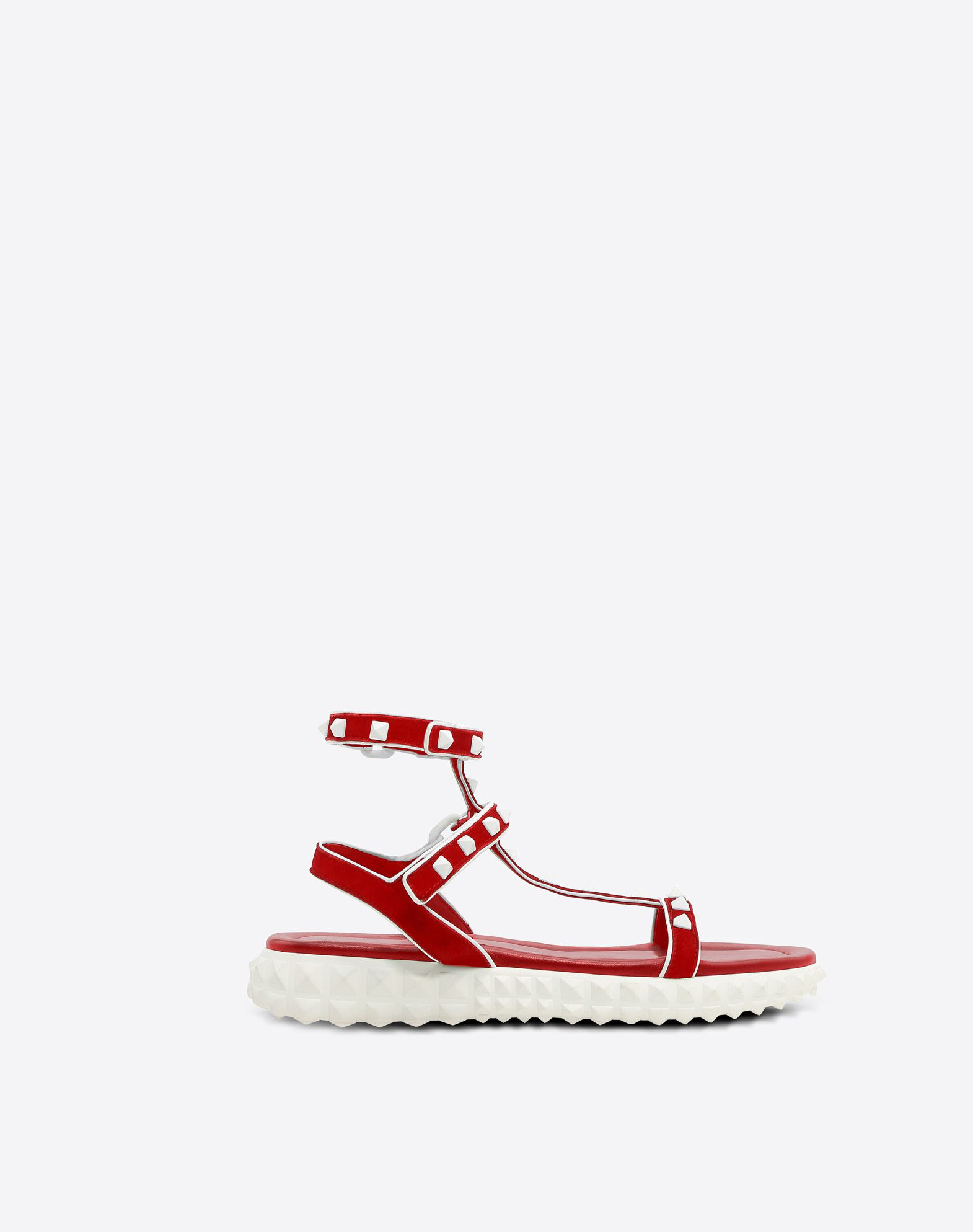 Free Rockstud Leather Sandals, Red