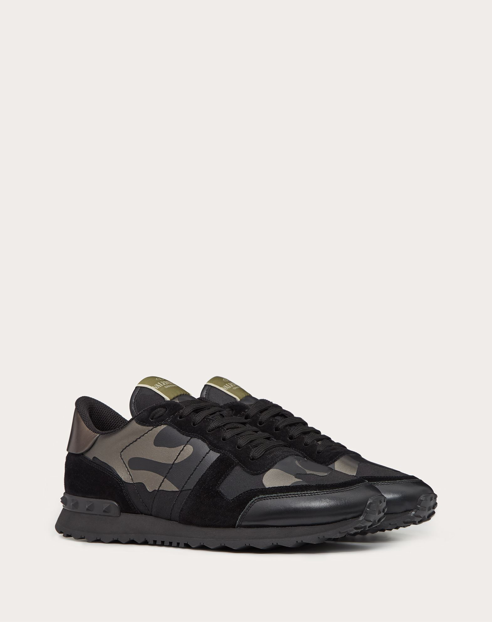 VALENTINO GARAVANI UOMO Camouflage Noir Rockrunner 运动鞋 LOW-TOP SNEAKERS U r
