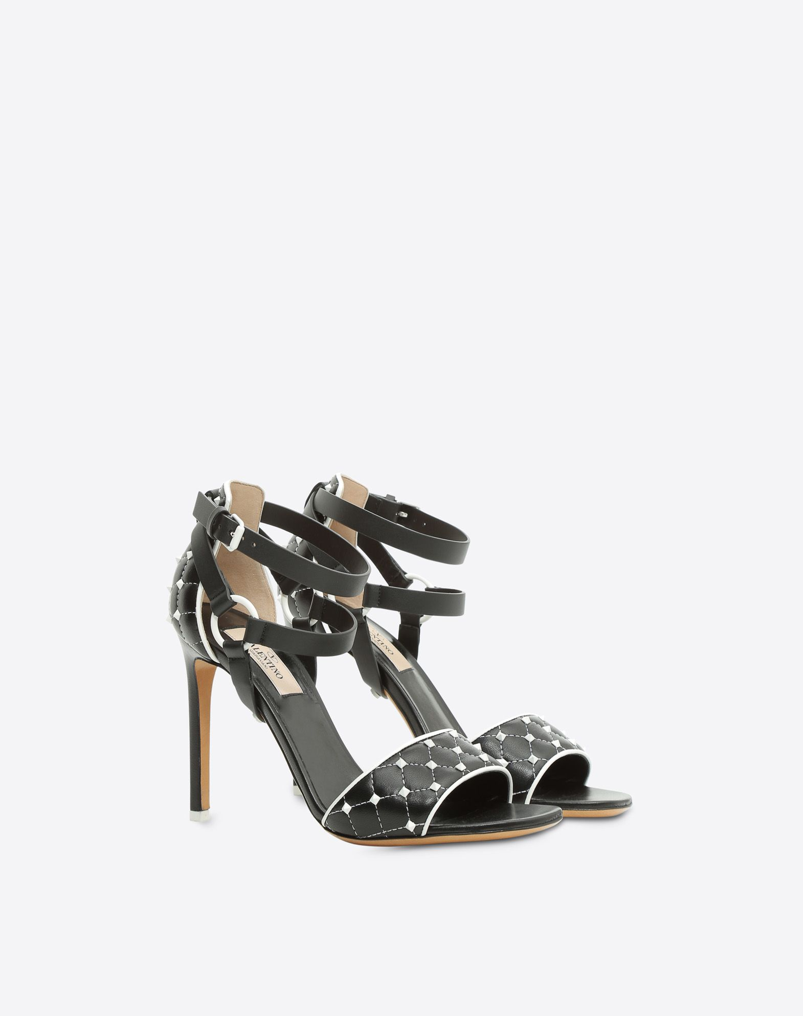 VALENTINO Studs Square toeline Leather lining Leather sole Buckling ankle strap closure Stiletto heel  45380247sm