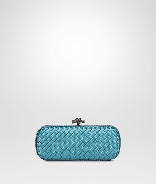 BOTTEGA VENETA AQUA INTRECCIATO IMPERO STRETCH KNOT Clutch Woman fp