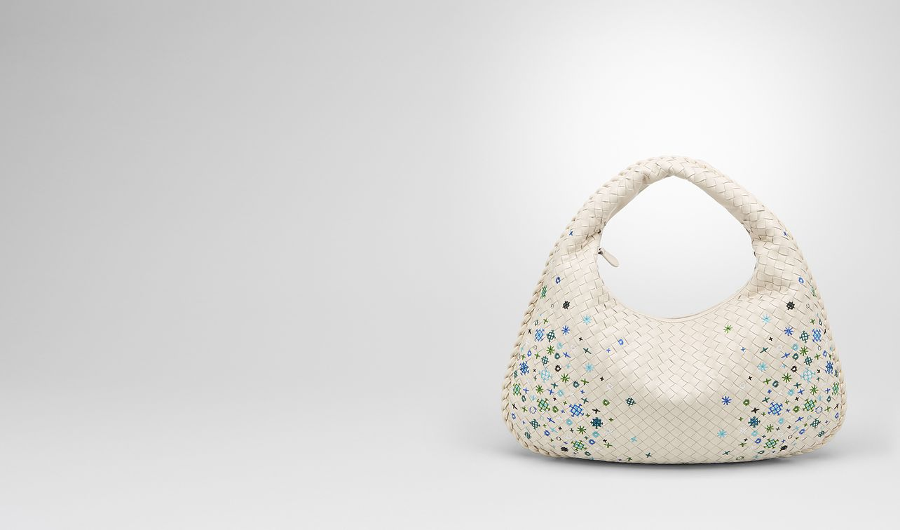 mist intrecciato meadow flower medium veneta bag landing