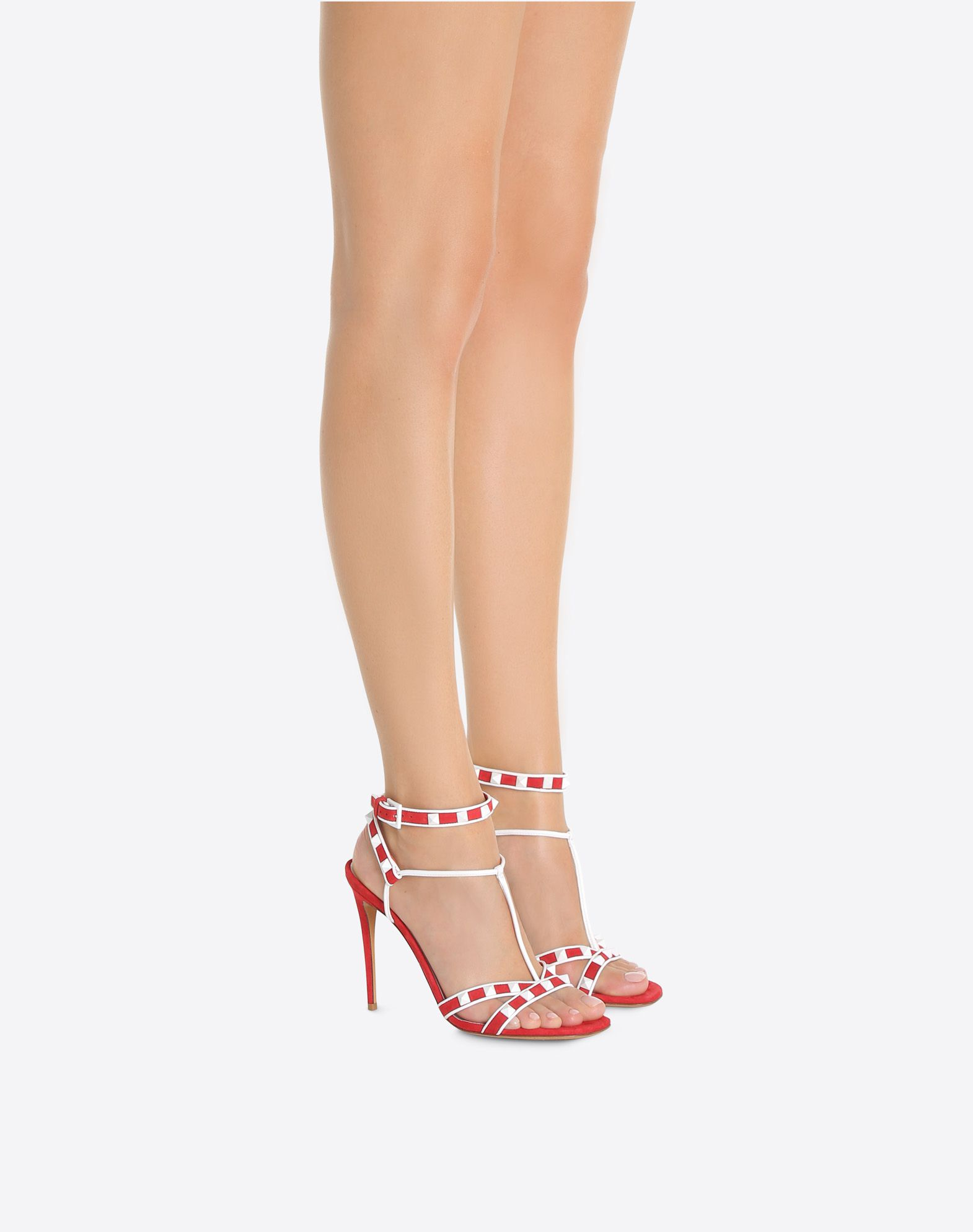 VALENTINO Studded Suede effect Round toeline Leather lining Two-tone Leather sole Buckle Spike heel  45380729xo