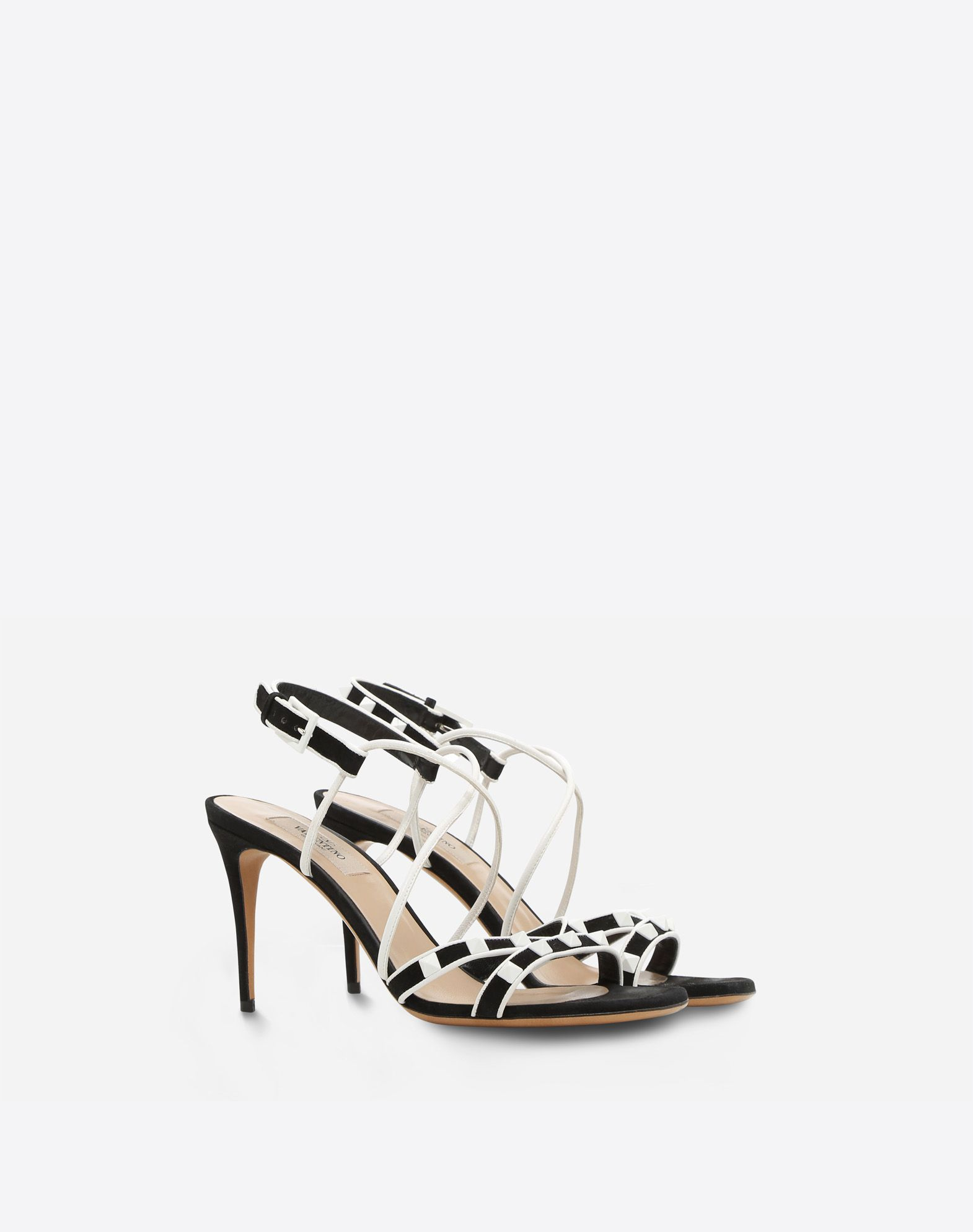 Valentino Garavani Rockstud suede and leather sandals Ei2UaiC05