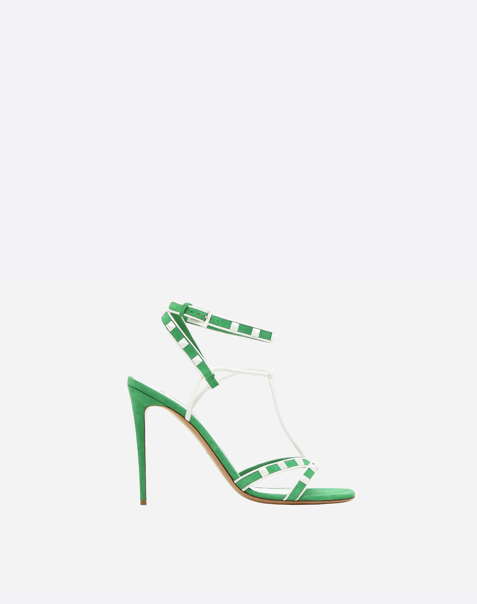 VALENTINO Studded Suede effect Round toeline Leather lining Two-tone Leather sole Buckle Spike heel  45380738ww