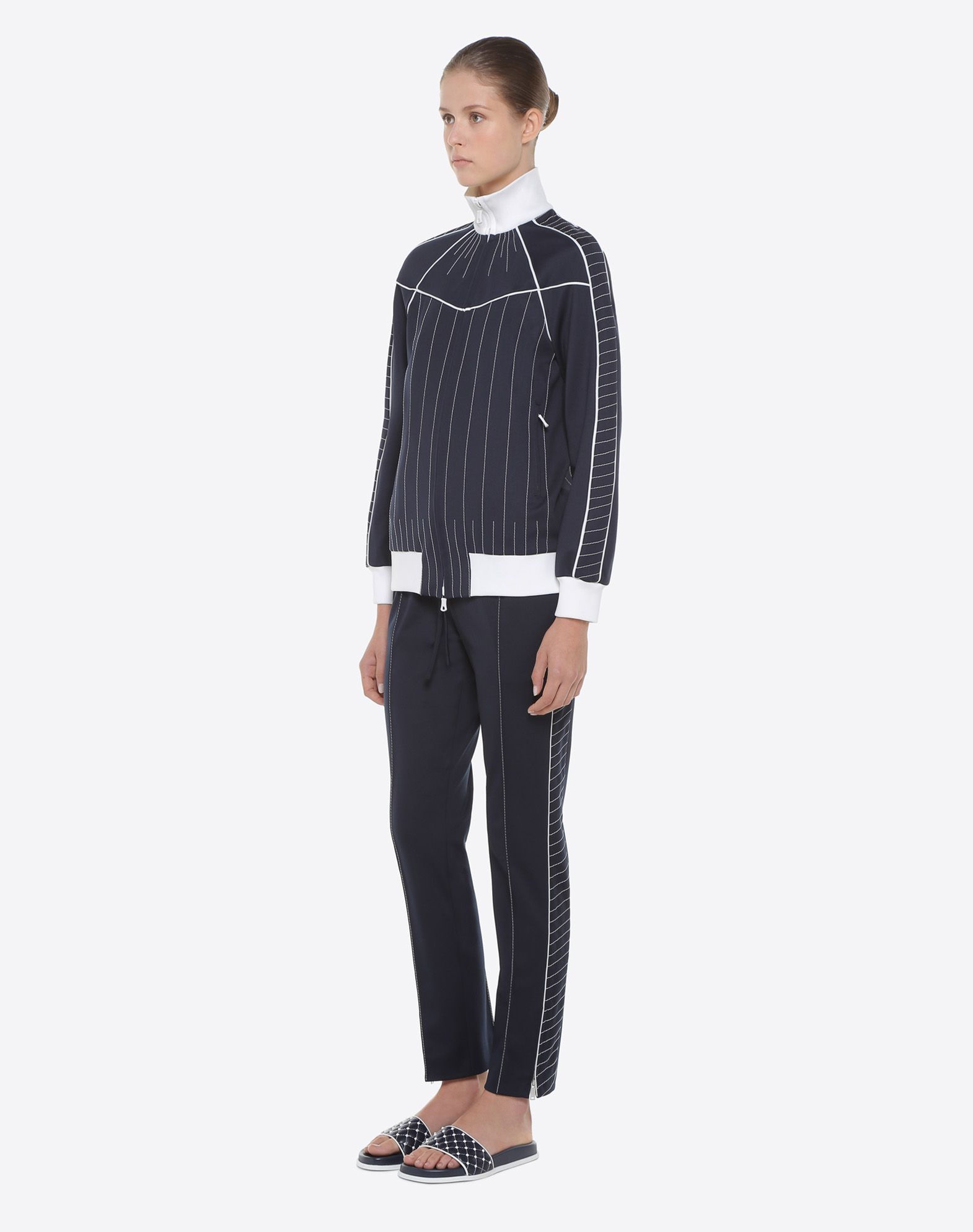 VALENTINO Synthetic jersey Two-tone Contrasting stitching Knitted cuffs Long sleeves Two pockets Zip  45380754ex