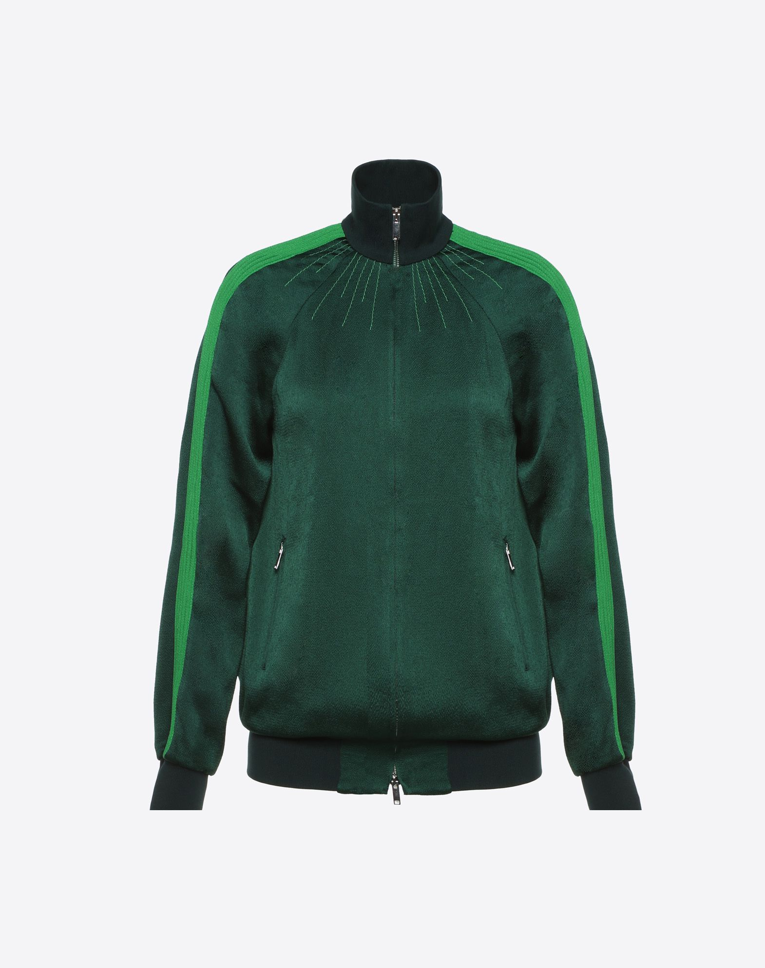 High-Neck Zip-Through Satin-Jersey Track Top in Green