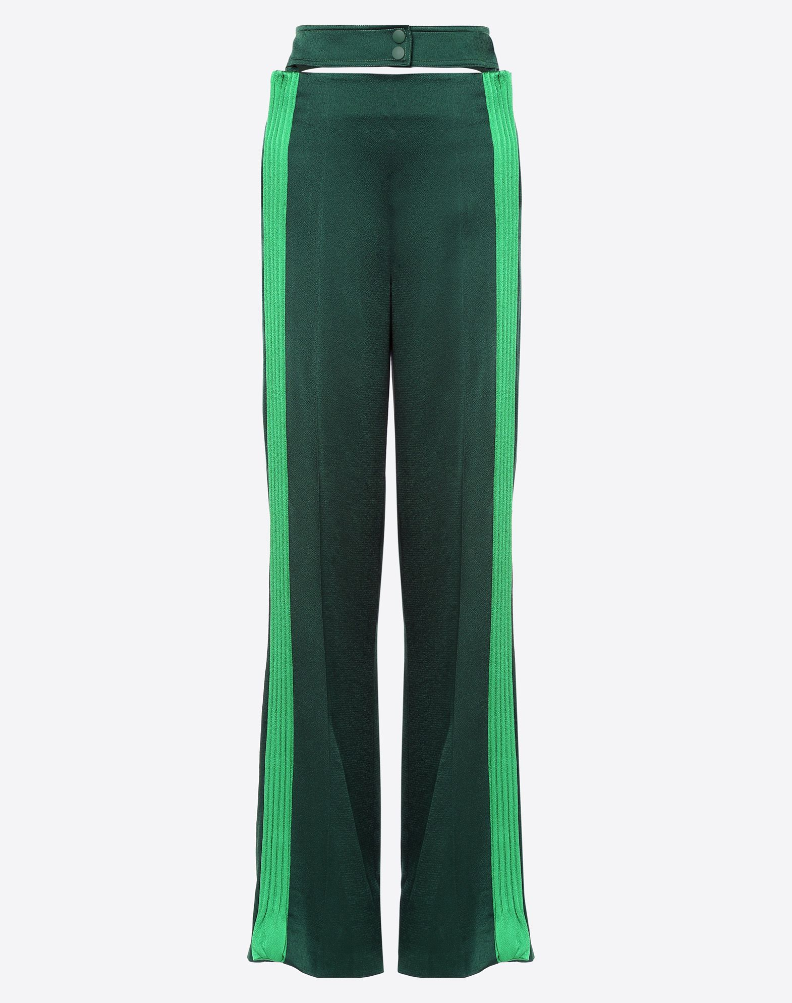 Belted Striped Hammered Satin-Jersey Wide-Leg Pants, Dark Green