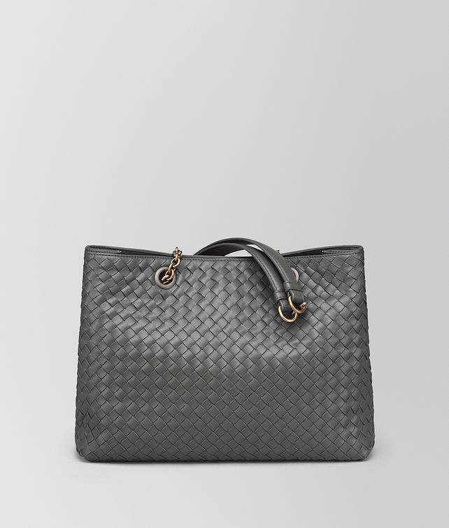 BOTTEGA VENETA NEW LIGHT GREY INTRECCIATO NAPPA MEDIUM TOTE Tote Bag [*** pickupInStoreShipping_info ***] fp