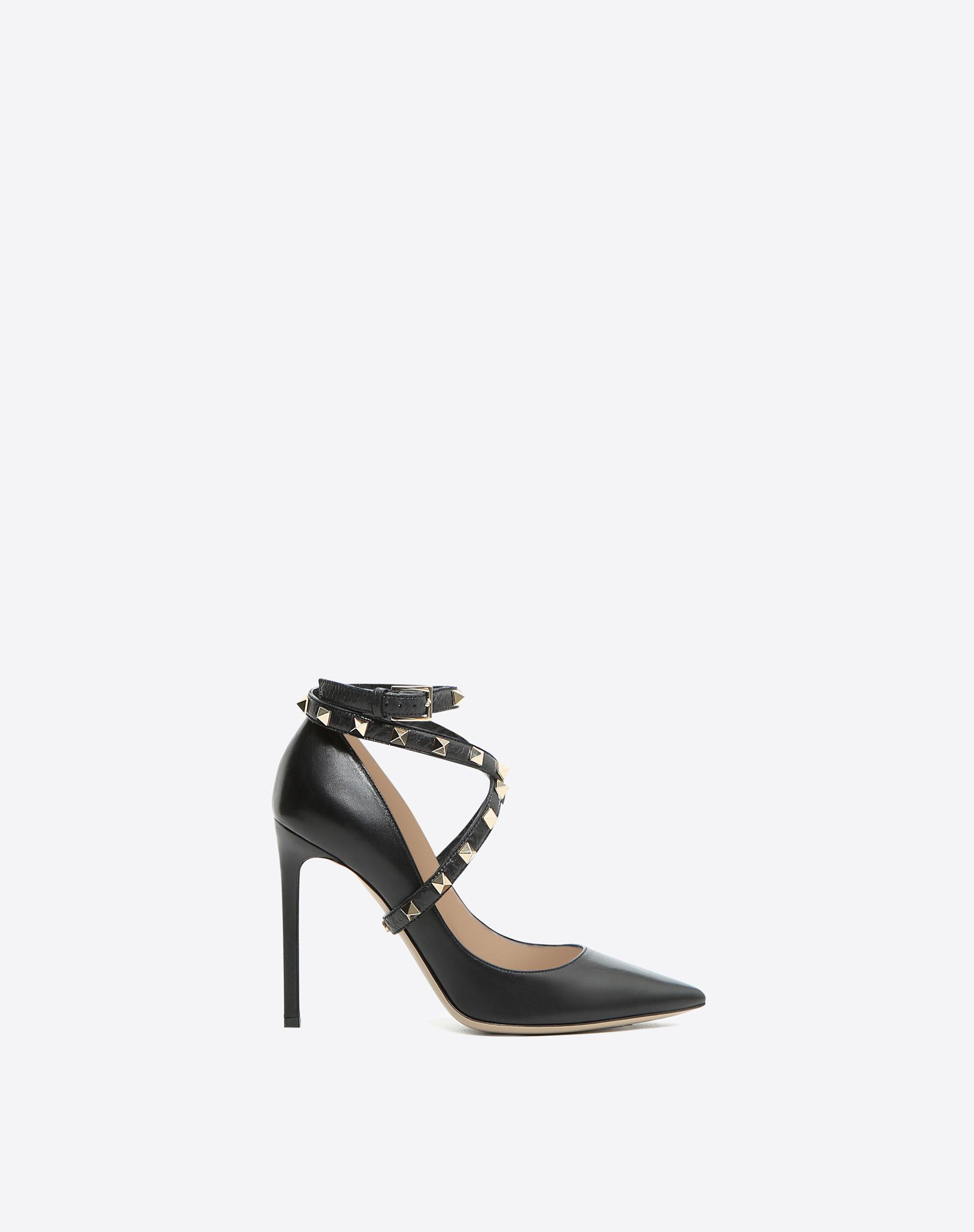 VALENTINO Studs Buckle Leather sole Narrow toeline Basic solid colour  45380997oq