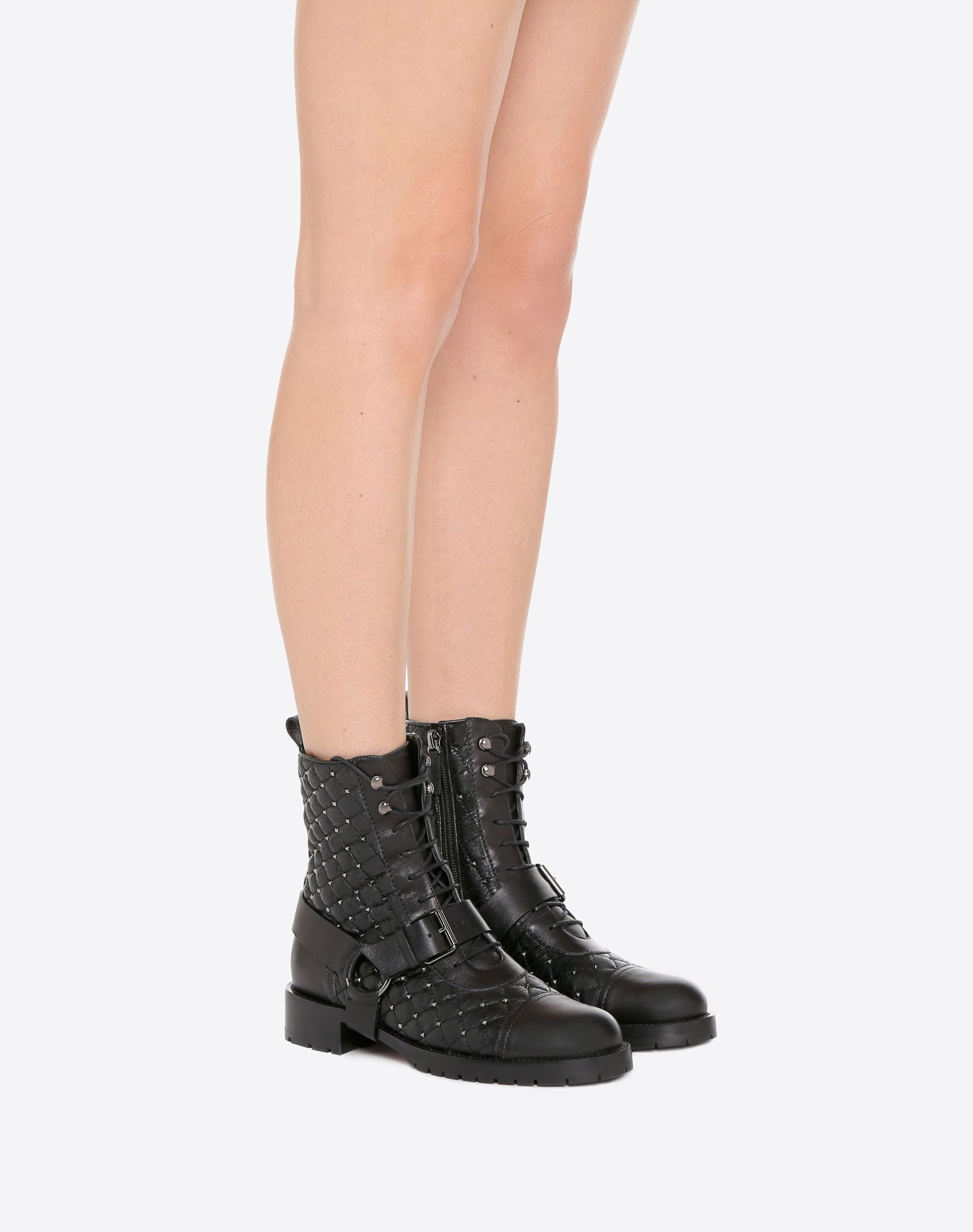 ValentinoWomen's Rockstud Quilted Combat Boot