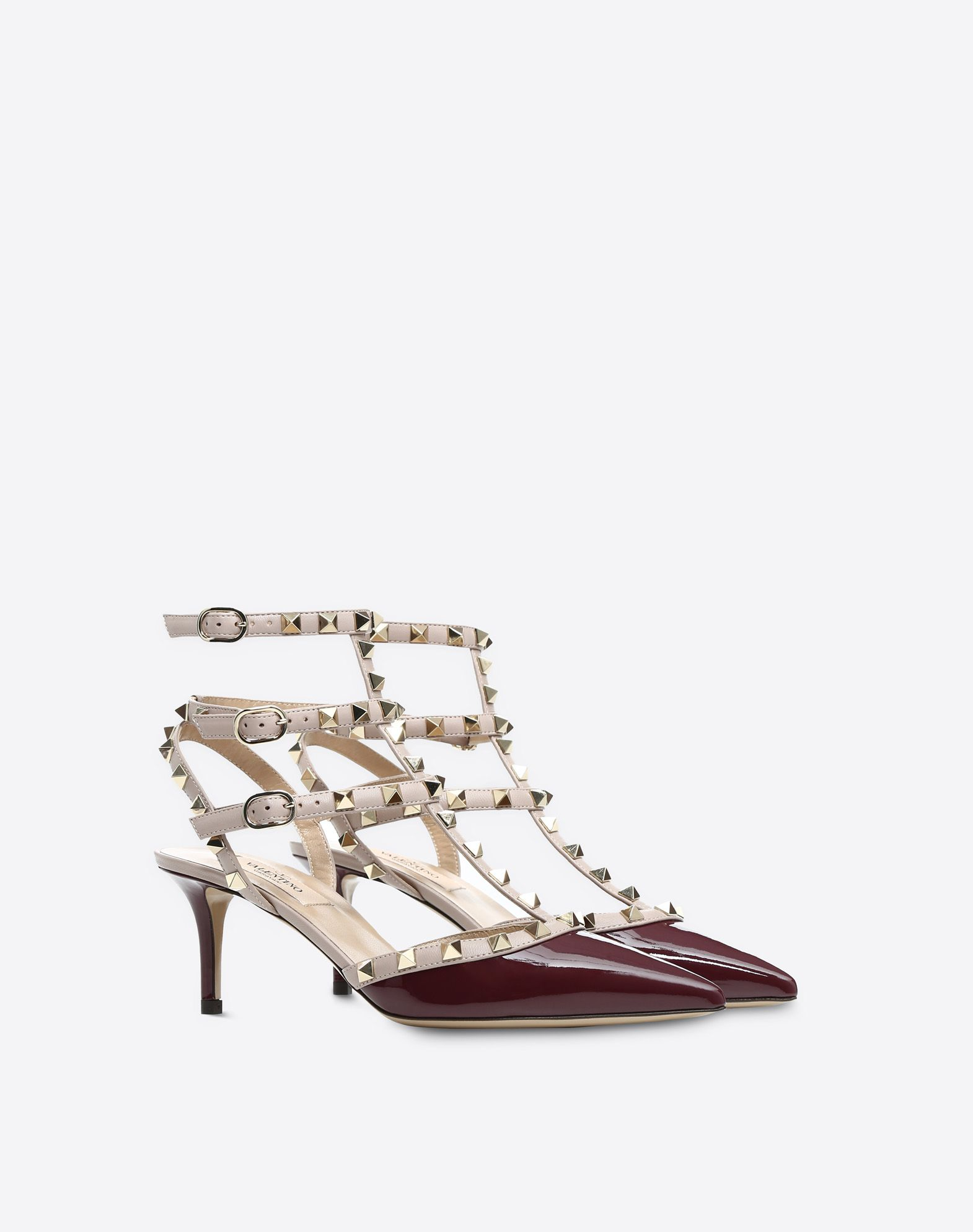 VALENTINO Two-tone Varnished effect Studs Buckle Narrow toeline Leather sole  45381034vx