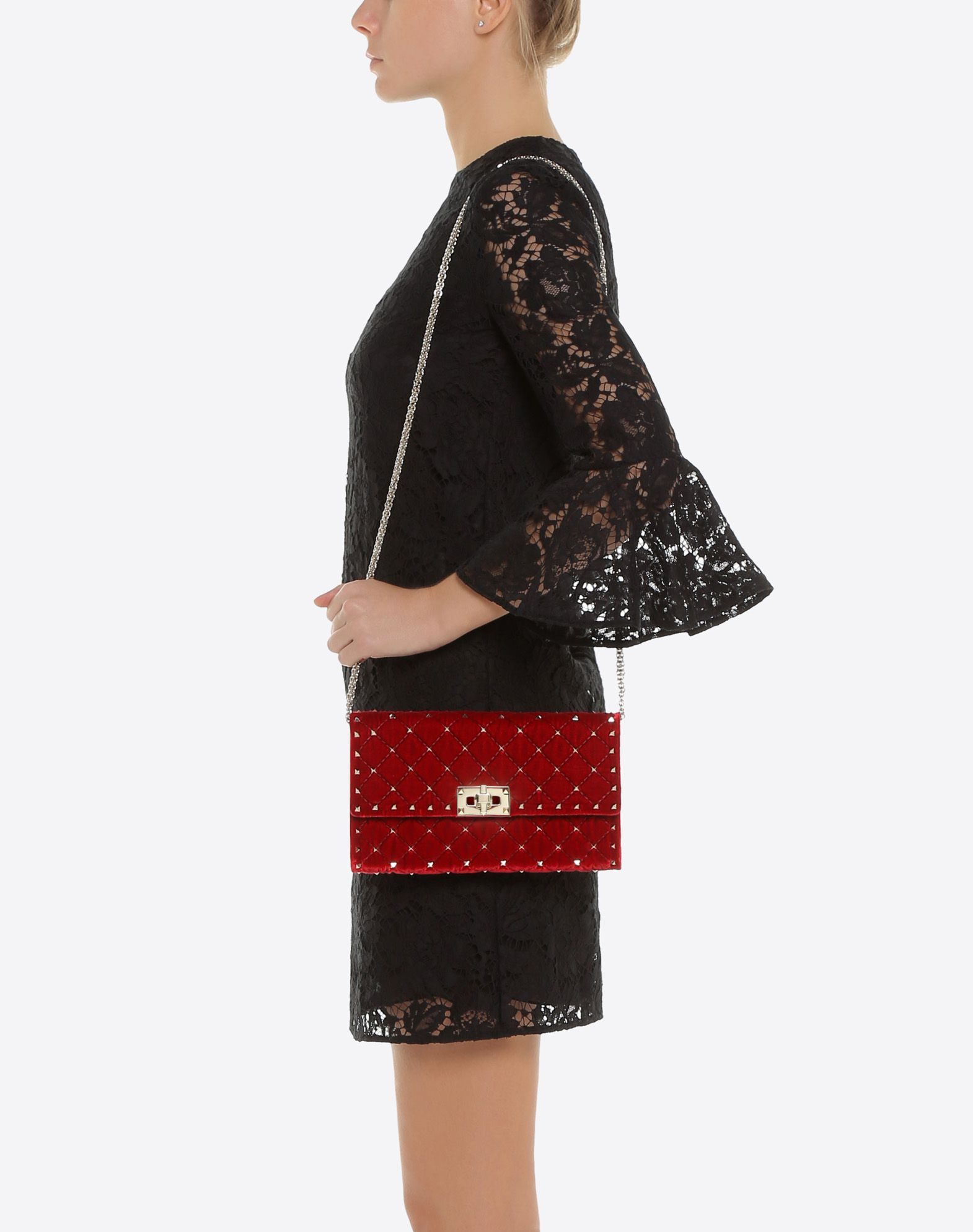 VALENTINO GARAVANI Rockstud Spike Chain Bag CROSS BODY BAG D a