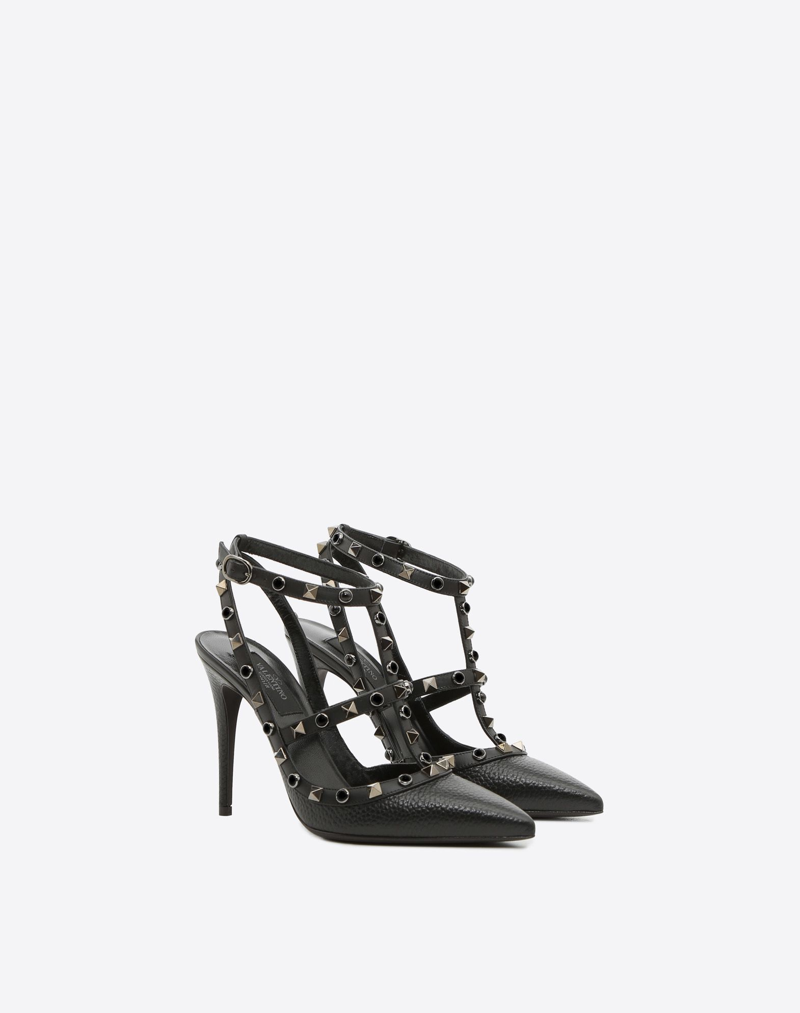 VALENTINO Spike heel Basic solid color Studs Buckle Narrow toeline Leather sole  45381132mx